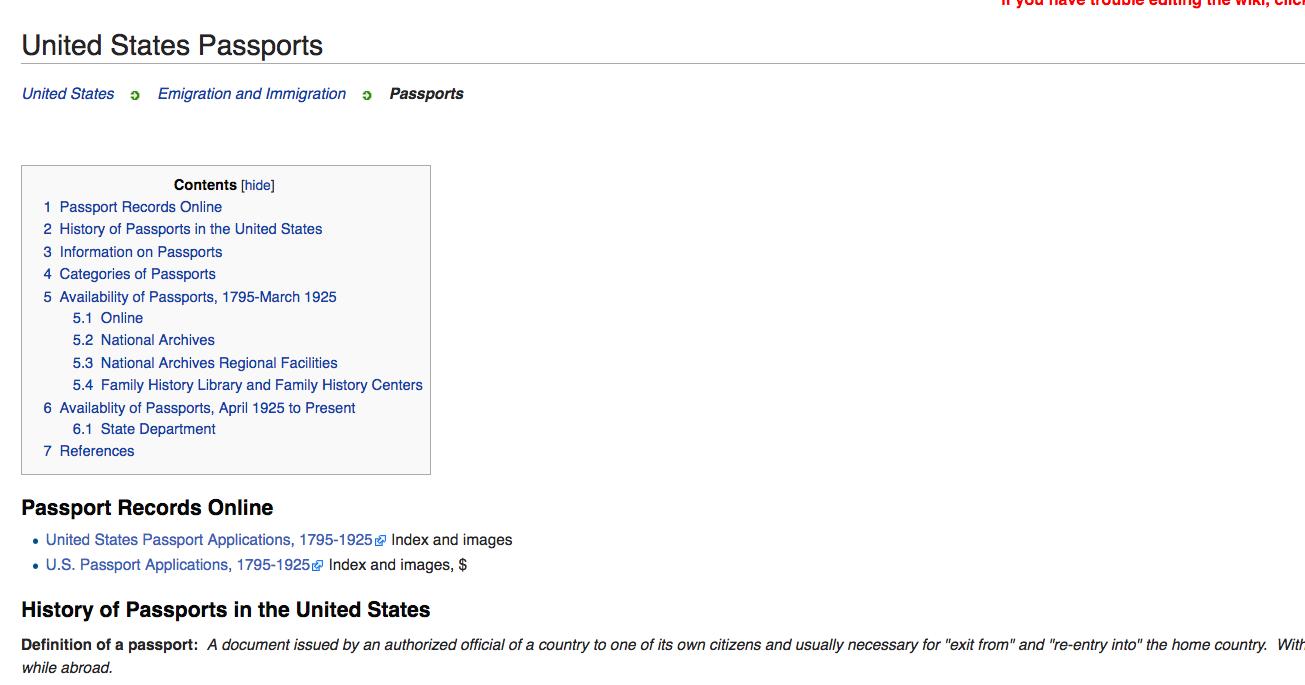 United States Passports Genealogy - FamilySearch Wiki